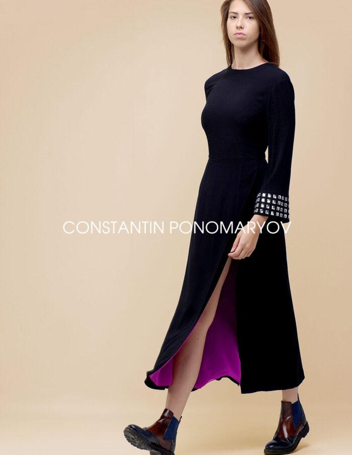 Повседневное длинное черное платье со стразами