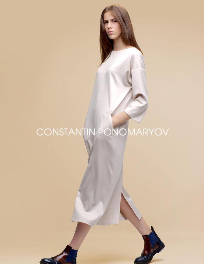 Платье с рукавами и карманами