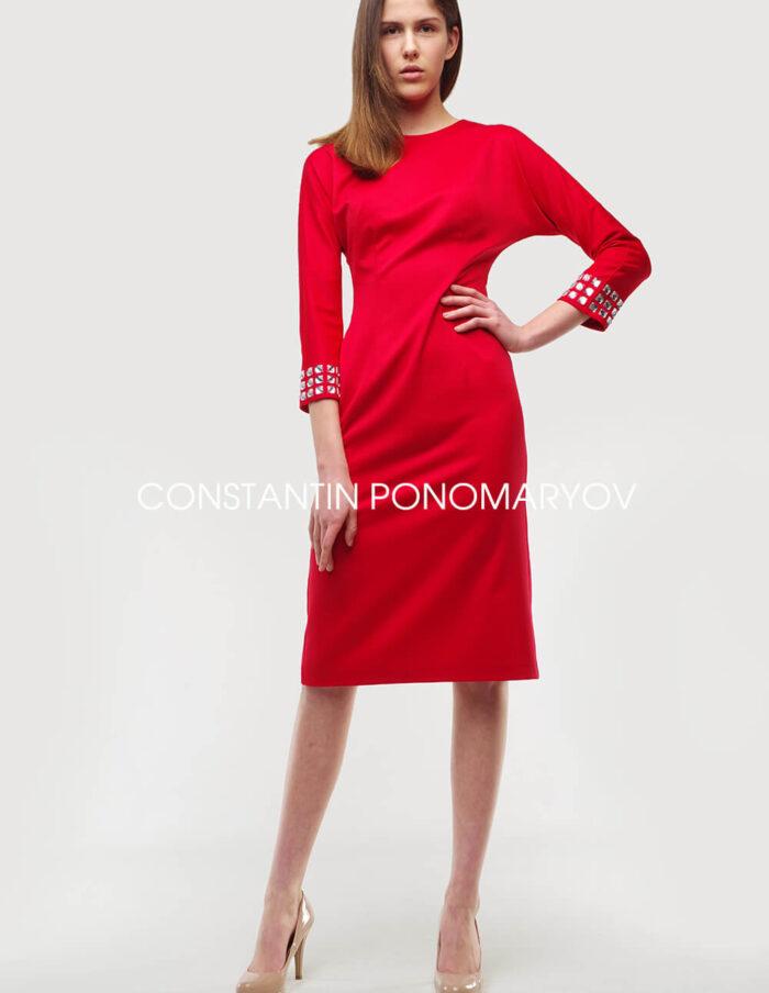Красное платье-футляр Constantin Ponomaryov приталенного силуэта