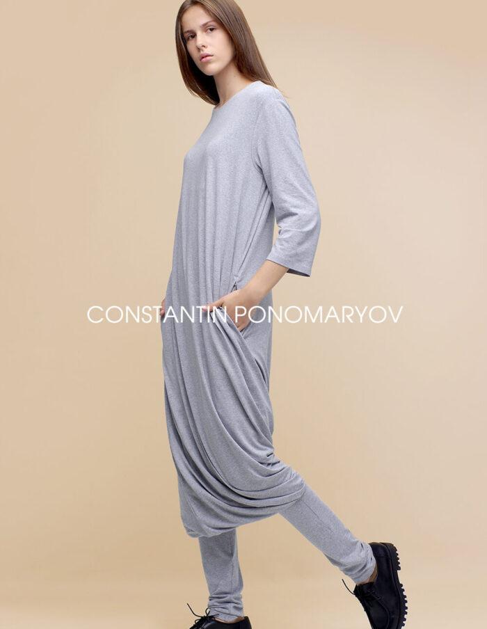 Трикотажный комплект платье и брюки