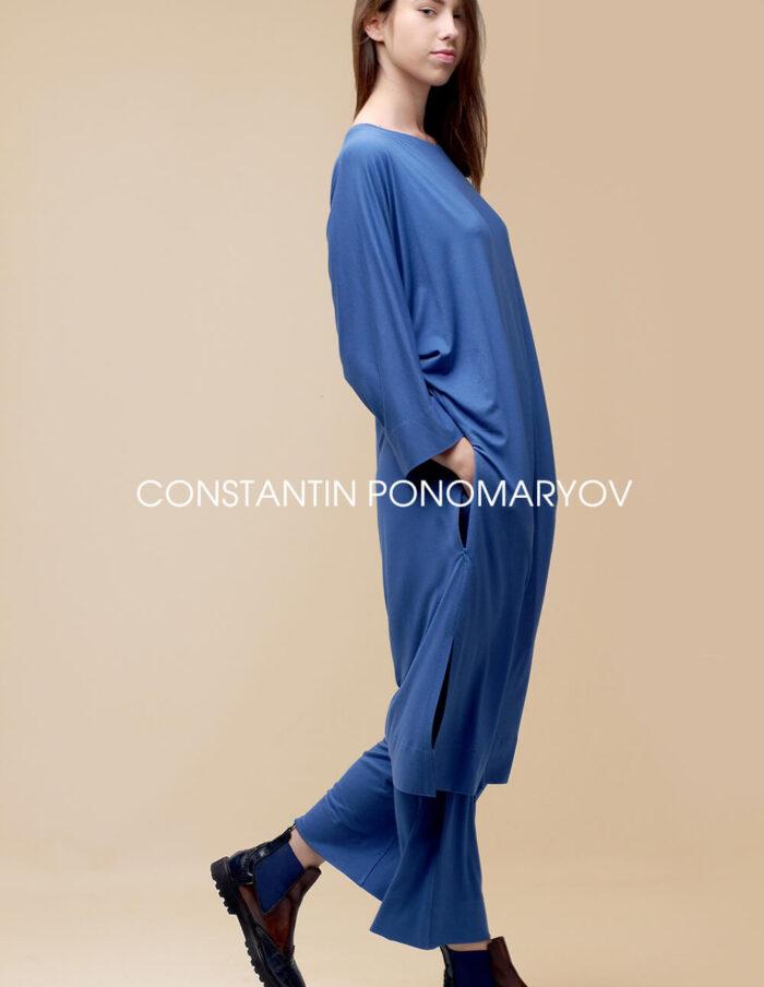 Трикотажный комплект платье и штаны