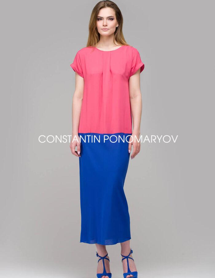 Летнее двухцветное платье