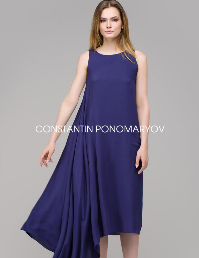 Асимметричное длинное летнее платье