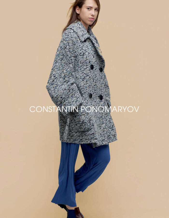 Двубортное женское пальто